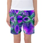 Evening Crystal Primrose, Abstract Night Flowers Women s Basketball Shorts