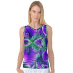 Evening Crystal Primrose, Abstract Night Flowers Women s Basketball Tank Top