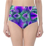 Evening Crystal Primrose, Abstract Night Flowers High-Waist Bikini Bottoms