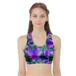 Evening Crystal Primrose, Abstract Night Flowers Women s Sports Bra with Border