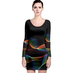 Fluted Cosmic Rafluted Cosmic Rainbow, Abstract Winds Long Sleeve Bodycon Dress by DianeClancy