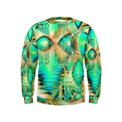 Golden Teal Peacock, Abstract Copper Crystal Kids  Sweatshirt by DianeClancy