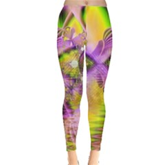 Golden Violet Crystal Heart Of Fire, Abstract Leggings  by DianeClancy