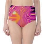 Magenta Boardwalk Carnival, Abstract Ocean Shimmer High-Waist Bikini Bottoms
