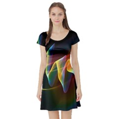 Northern Lights, Abstract Rainbow Aurora Short Sleeve Skater Dress by DianeClancy