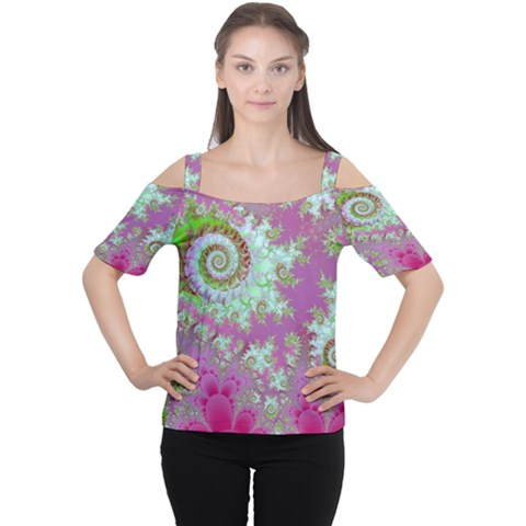 Raspberry Lime Surprise, Abstract Sea Garden  Women s Cutout Shoulder Tee by DianeClancy