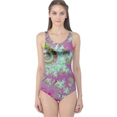 Raspberry Lime Surprise, Abstract Sea Garden  One Piece Swimsuit by DianeClancy