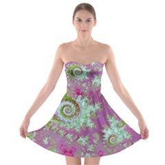 Raspberry Lime Surprise, Abstract Sea Garden  Strapless Dresses by DianeClancy