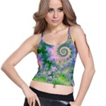 Rose Apple Green Dreams, Abstract Water Garden Spaghetti Strap Bra Top
