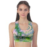Rose Apple Green Dreams, Abstract Water Garden Sports Bra