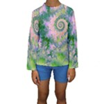 Rose Apple Green Dreams, Abstract Water Garden Kid s Long Sleeve Swimwear