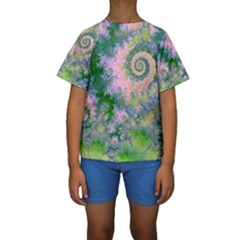 Rose Apple Green Dreams, Abstract Water Garden Kid s Short Sleeve Swimwear by DianeClancy