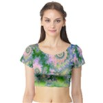 Rose Apple Green Dreams, Abstract Water Garden Short Sleeve Crop Top (Tight Fit)