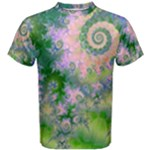 Rose Apple Green Dreams, Abstract Water Garden Men s Cotton Tee