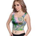 Rose Apple Green Dreams, Abstract Water Garden Crop Top