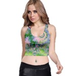 Rose Apple Green Dreams, Abstract Water Garden Racer Back Crop Top