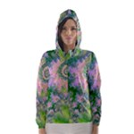 Rose Apple Green Dreams, Abstract Water Garden Hooded Wind Breaker (Women)