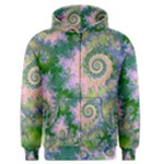 Rose Apple Green Dreams, Abstract Water Garden Men s Zipper Hoodie