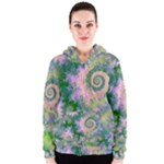 Rose Apple Green Dreams, Abstract Water Garden Women s Zipper Hoodie