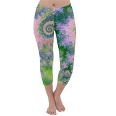Rose Apple Green Dreams, Abstract Water Garden Capri Winter Leggings  by DianeClancy