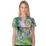 Rose Apple Green Dreams, Abstract Water Garden Women s V-Neck Sport Mesh Tee