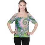 Rose Apple Green Dreams, Abstract Water Garden Women s Cutout Shoulder Tee