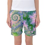 Rose Apple Green Dreams, Abstract Water Garden Women s Basketball Shorts