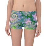 Rose Apple Green Dreams, Abstract Water Garden Boyleg Bikini Bottoms