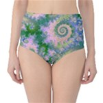 Rose Apple Green Dreams, Abstract Water Garden High-Waist Bikini Bottoms