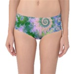 Rose Apple Green Dreams, Abstract Water Garden Mid-Waist Bikini Bottoms