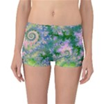 Rose Apple Green Dreams, Abstract Water Garden Reversible Boyleg Bikini Bottoms