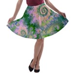 Rose Apple Green Dreams, Abstract Water Garden A-line Skater Skirt