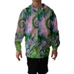 Rose Apple Green Dreams, Abstract Water Garden Hooded Wind Breaker (Kids)