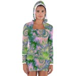 Rose Apple Green Dreams, Abstract Water Garden Women s Long Sleeve Hooded T-shirt