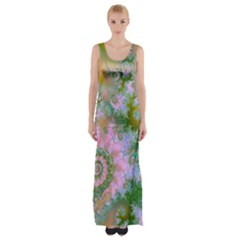 Rose Forest Green, Abstract Swirl Dance Maxi Thigh Split Dress by DianeClancy
