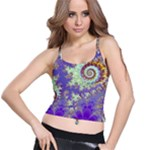 Sea Shell Spiral, Abstract Violet Cyan Stars Spaghetti Strap Bra Top
