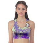 Sea Shell Spiral, Abstract Violet Cyan Stars Sports Bra