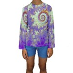 Sea Shell Spiral, Abstract Violet Cyan Stars Kid s Long Sleeve Swimwear