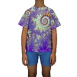 Sea Shell Spiral, Abstract Violet Cyan Stars Kid s Short Sleeve Swimwear
