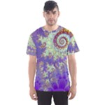 Sea Shell Spiral, Abstract Violet Cyan Stars Men s Sport Mesh Tee