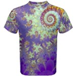 Sea Shell Spiral, Abstract Violet Cyan Stars Men s Cotton Tee