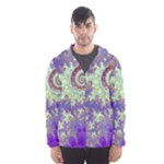 Sea Shell Spiral, Abstract Violet Cyan Stars Hooded Wind Breaker (Men)