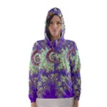 Sea Shell Spiral, Abstract Violet Cyan Stars Hooded Wind Breaker (Women)