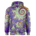 Sea Shell Spiral, Abstract Violet Cyan Stars Men s Pullover Hoodie