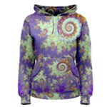 Sea Shell Spiral, Abstract Violet Cyan Stars Women s Pullover Hoodie