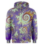 Sea Shell Spiral, Abstract Violet Cyan Stars Men s Zipper Hoodie