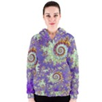 Sea Shell Spiral, Abstract Violet Cyan Stars Women s Zipper Hoodie