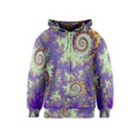 Sea Shell Spiral, Abstract Violet Cyan Stars Kids  Zipper Hoodie