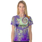 Sea Shell Spiral, Abstract Violet Cyan Stars Women s V-Neck Sport Mesh Tee