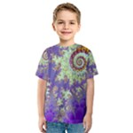 Sea Shell Spiral, Abstract Violet Cyan Stars Kid s Sport Mesh Tee
